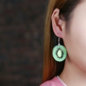 Jewelry - Kiwi Fruit Half Slice Earrings
